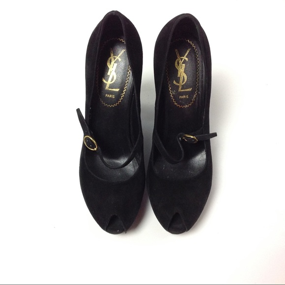 c5c77fd3ef6 Yves Saint Laurent Shoes | Ysl Paris Suede Wedge Heels Size 38 Black ...